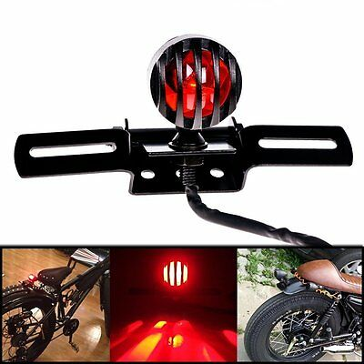 Neuf Noir Moto Support Bullet Grill Frein Feu Phare Lumière Arriere pour Harley