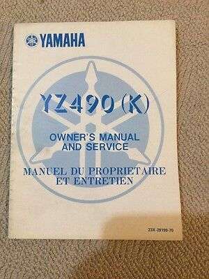 Yamaha YZ490 K 83 Genuine Owners Service Manual Vmx