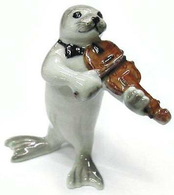 Northern Rose Miniature Porcelain Animal Musician Figure Seal with Violin MB012