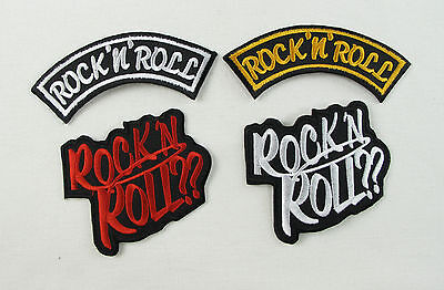 ROCK `N` ROLL Embroidered Iron Sew On Patch Retro Rockabilly 2 Designs