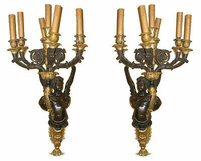 Pair Large Antique Empire Style Figurative Bronze Candelabra Sconces