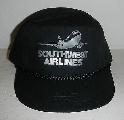Southwest Airlines Airplane SWA Logo YOUTH Snapback Black Baseball Hat Cap