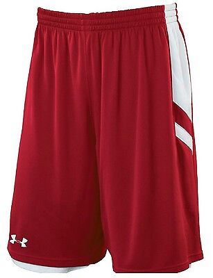 Under Armour YOUTH Undeniable REVERSIBLE Shorts RED -White YL LARGE NEW