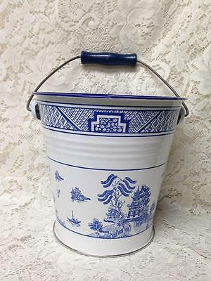 Vintage, Rare, Blue Willow Enamelware Ice Bucket or Wine Cooler 8.5in x 8.5in