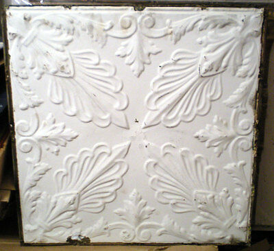 Antique Victorian Ceiling Tin Tile Flowers Leaves Shaby Chic
