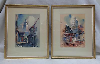 SGD Pair of Middle Eastern Architectural Lithograph Prints w Gold Antique Frames