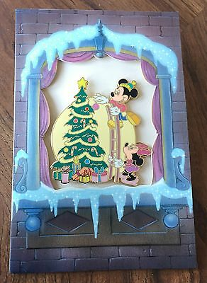 Disney Auctions Christmas Card Mickey and Minnie Trimming the Tree Pin LE NEW