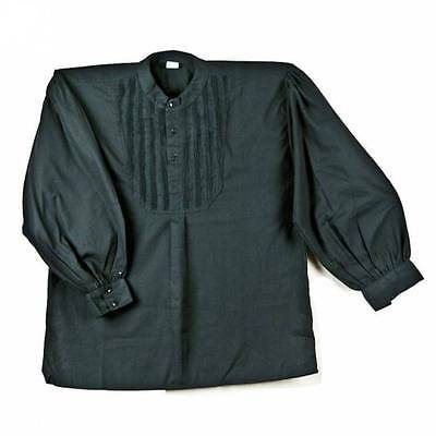 19th Century Black  Dress Shirt Mens Cotton Pullover Rendezvous Fur Trade