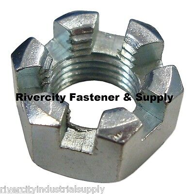 (100) 9/16-18 Slotted Hex Castle Nut Zinc Plated 9/16 x 18 Fine Thread 100 Pack