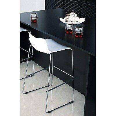 Single Trent Bar Stool in White with Chrome Legs leaf-06