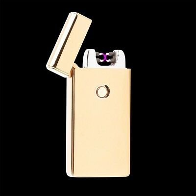 Gold Electric Dual Arc Metal Flameless Torch USB Rechargeable Windproof Lighter