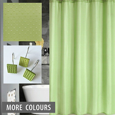 Quickfit Shower Curtain + 12 Decorative Hooks |  Modern Lime Green Dobby Pattern