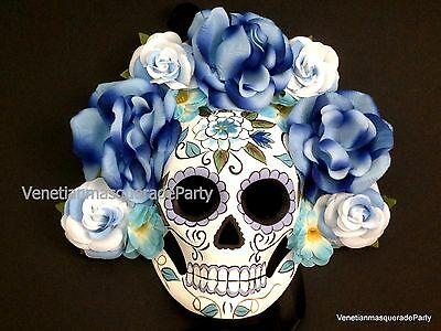 Mexican Beautiful flower Day of the Dead Full face skull Mask wedding Mardi Gras