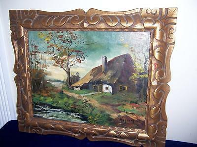 Signed Rosiers Fine Art Landscape Cottage Oil Painting