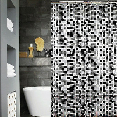 Quickfit Clear Modern Shower Curtain + 12 Decorative Hooks | Grey White Squares