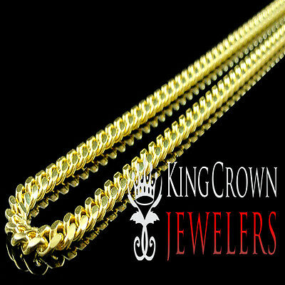 Mens Yellow Gold Pure Sterling Silver Solid Miami Cuban Link Chain Necklace 4 Mm