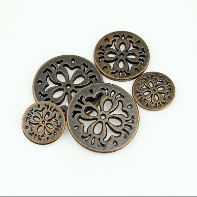 12PCS Antique Red Bronze Metal Round Four Hole Eyes Hollow Buttons 15 20 23 25mm