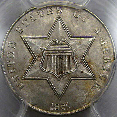 1861 Three Cent Silver Choice BU PCGS MS-63...180 Rotated Reverse, Super PQ Coin