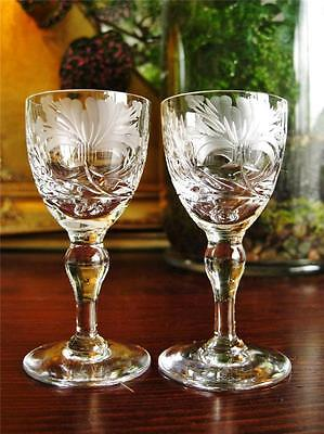 "Beautiful Royal Brierley vintage crystal liqueur glasses ""Honey Suckle"" pair."