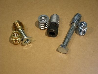 Threaded Inserts - Brass & Zinc Alloy - Flanged & Un-Flanged - packs of 12