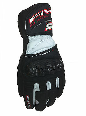 FIVE brand RFX New Motorcycle Leather Gloves Black / White Street Road Race Tour