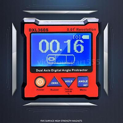 DXL360S High-precision Dual Axis LCD Digital Angle Protractor Level Gauge E8V2