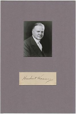 US President Herbert Hoover – signature matted with photograph