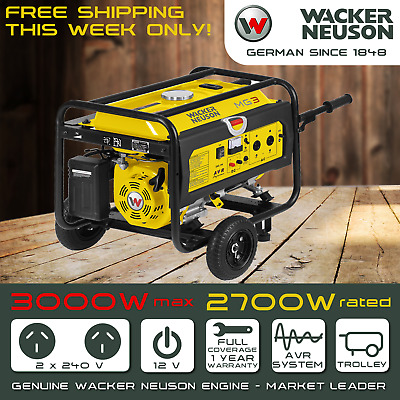 NEW Wacker Neuson MG3 Generator, 3 KVa 3KW Max Rated 2.7 KW Single Portable