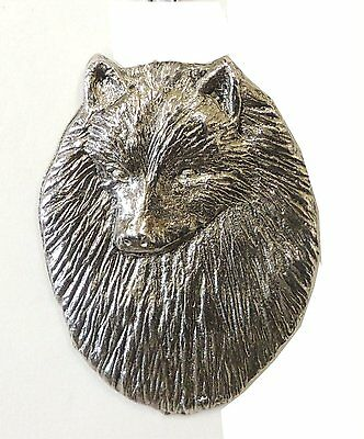 Keeshond Brooch, Silver Plated