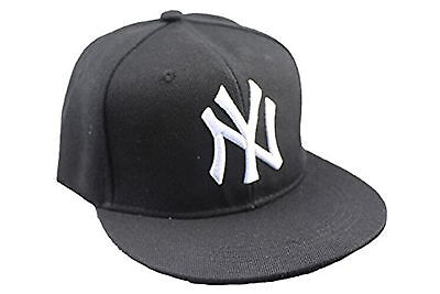 Childrens Black Hip - Hop Baseball Cap with White NY Logo Yankees Style