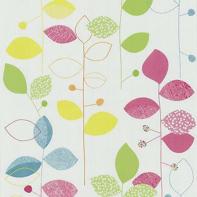 New P&s Floral Leaf Pattern Spots Motif Vinyl Textured Wallpaper Roll 05561-20