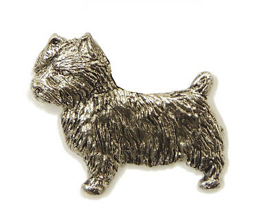 Norwich Terrier Brooch, Silver Plated