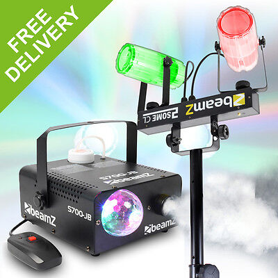 2-in-1 Bright Colour LED Party Lighting Set + Disco Light Fog Machine + Stand
