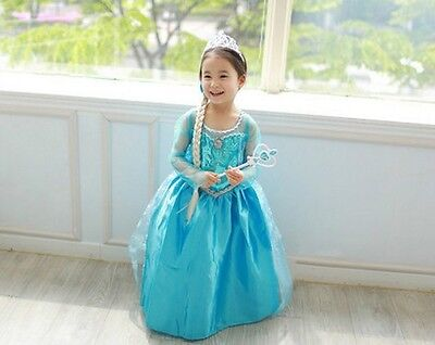 Frozen CLASSIC Style Queen Elsa Girl's Cosplay Costume Party Dress Size2-8yers