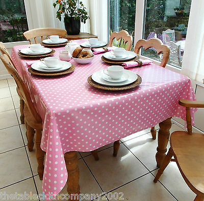 *TO CLEAR* 14x200cm Rectangle PVC Coated Cotton Tablecloth - Pink Polka Dot