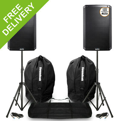 2x Alto TS215 Active Powered DJ Disco PA Party Speakers Stands Carry Bags 2200W