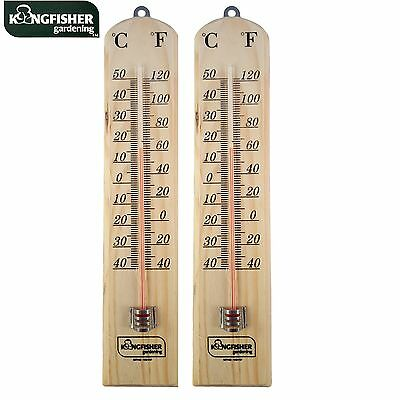 2 x LARGE 26CM WOODEN WALL THERMOMETER  MOUNTING WITH C & F READING IN/OUTDOOR