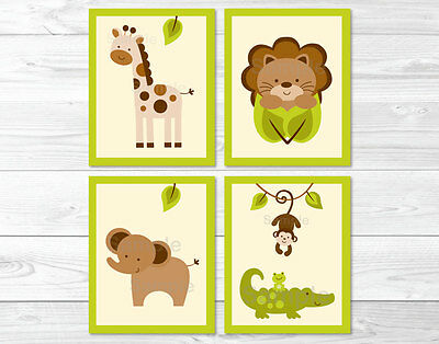Baby Safari Lion Monkey Elephant Giraffe Printable Nursery Wall Art