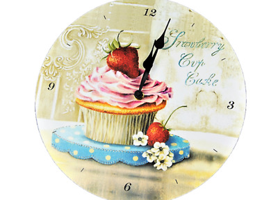 Kitchen Clock Wall clock with Strawberry Cupcake pattern