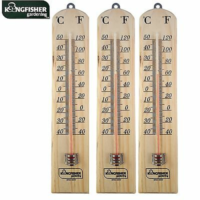 3 x LARGE 26CM WOODEN WALL THERMOMETER  MOUNTING  C & F READING IN/OUTDOOR
