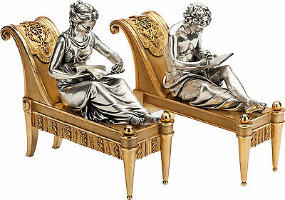 Pair Gilt and Silvered Bronze French Neoclassical Fireplace Chenets by Bouhon