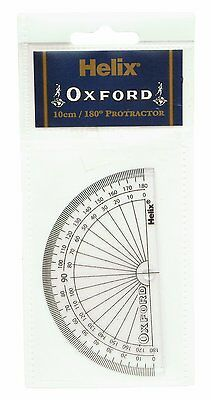 Helix OXFORD Clear 10cm 180 Degree Protractor (H01011)