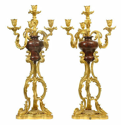 Pair Louis XV Rococo Style Bronze and Marble Candelabra