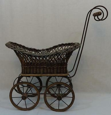 Antique Child's Victorian Baby Carriage Wicker-Wood-Iron FANTASTIC!