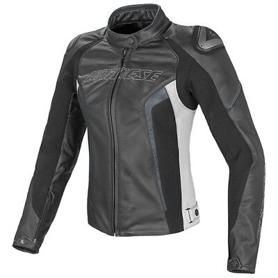 Dainese Racing D1 Summer Lady Leather Jacket - Black / White / Anthracite
