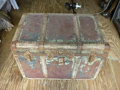 Old Flat Top Steamer Trunk C & M  #16E007