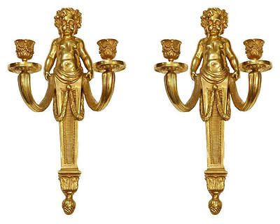 Pair Gilt Bronze Louis XV Style Sconces