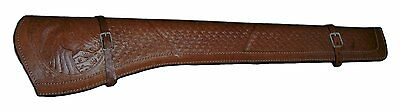 BROWN TOOLED SCABBARD REAL LEATHER Rifle Holster SCABBARD no strap Holster only