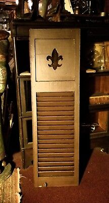 Arts/Crafts 1915  Fleur-de-Lis Single Wooden Shutter with Hardware