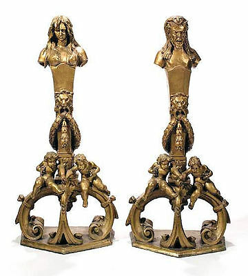 Pair Antique Gilt Bronze Italian Neoclassical Andirons Firedogs Chenets